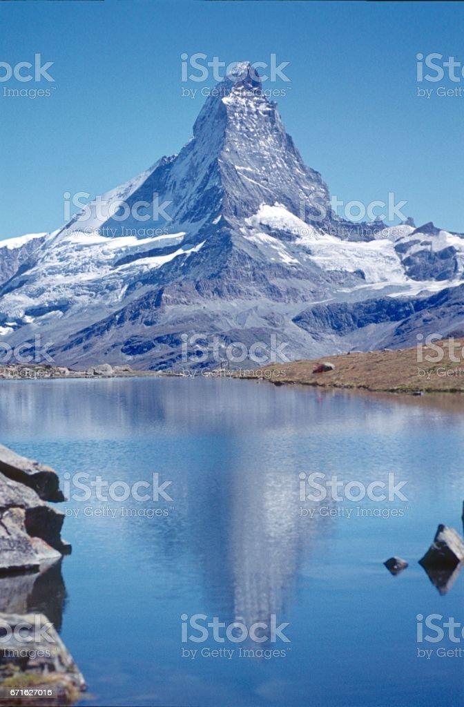 Riffelsee at the Matterhorn stock photo