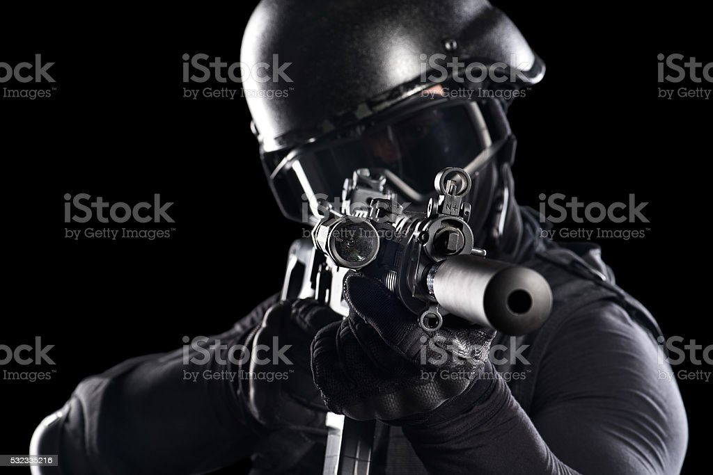 Rifle aiming stock photo