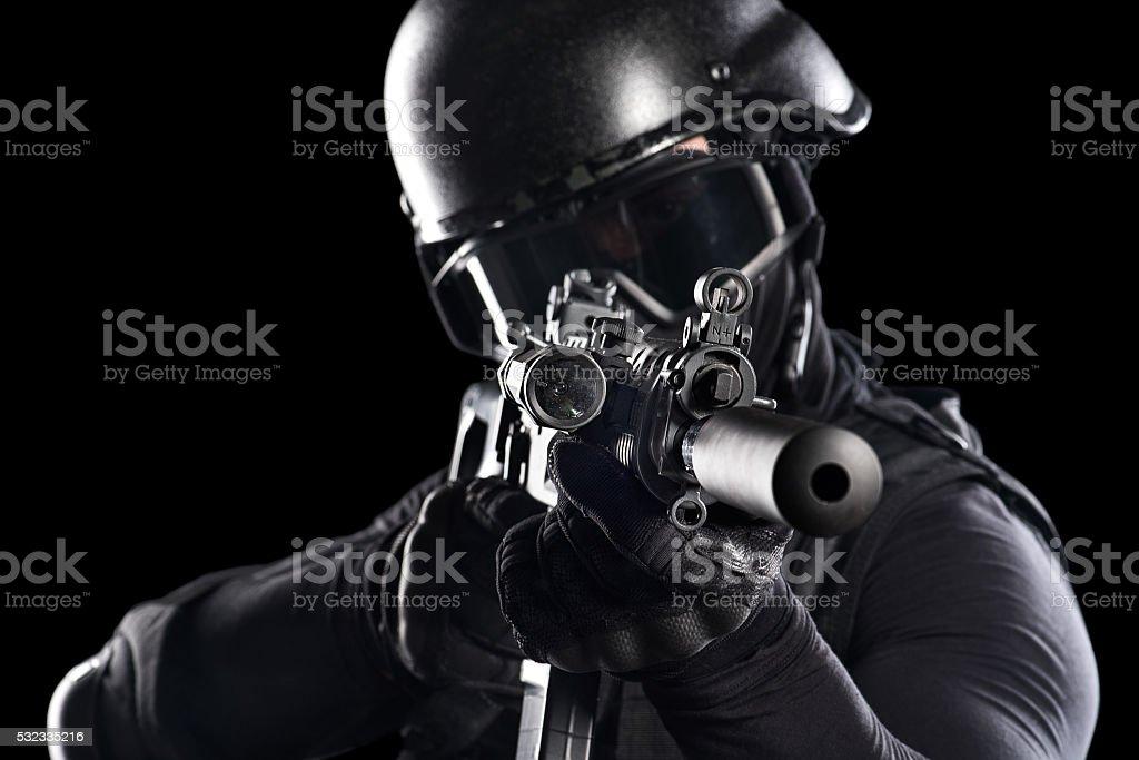 Rifle aiming stock photo