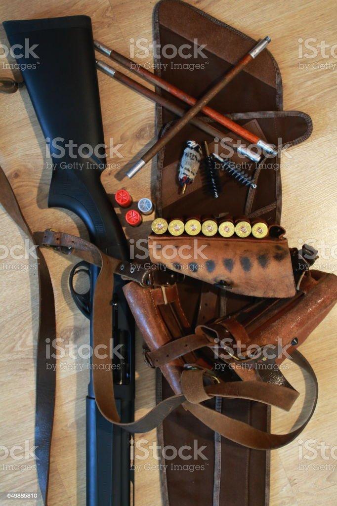 Rifle ammunition,  bandolier, ramrod and shotgun, cleaning kit stock photo