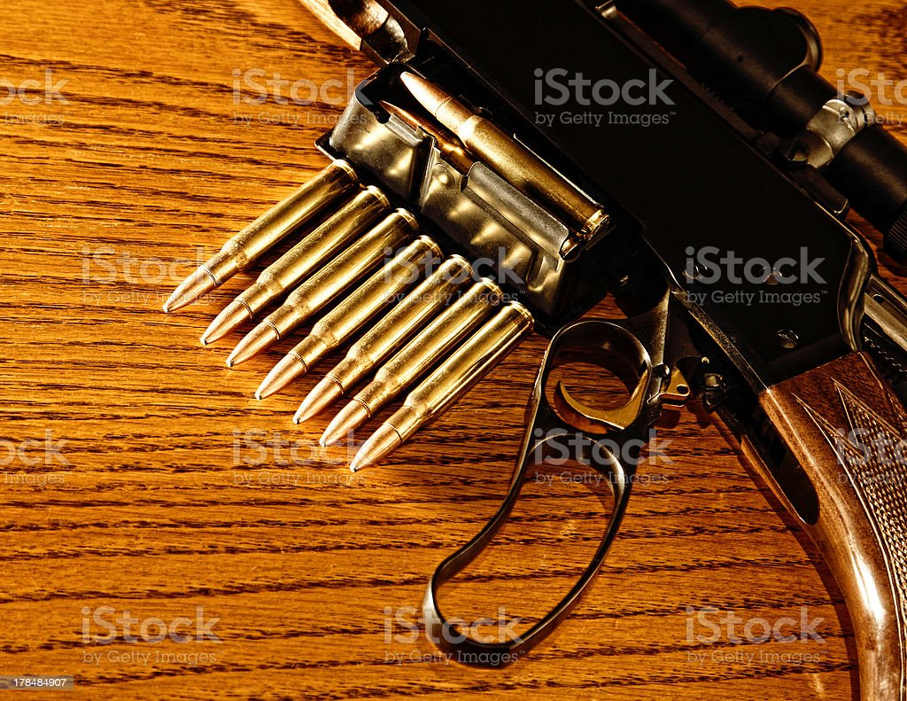 Rifle and Ammunition (Lever Action, 30.06) stock photo
