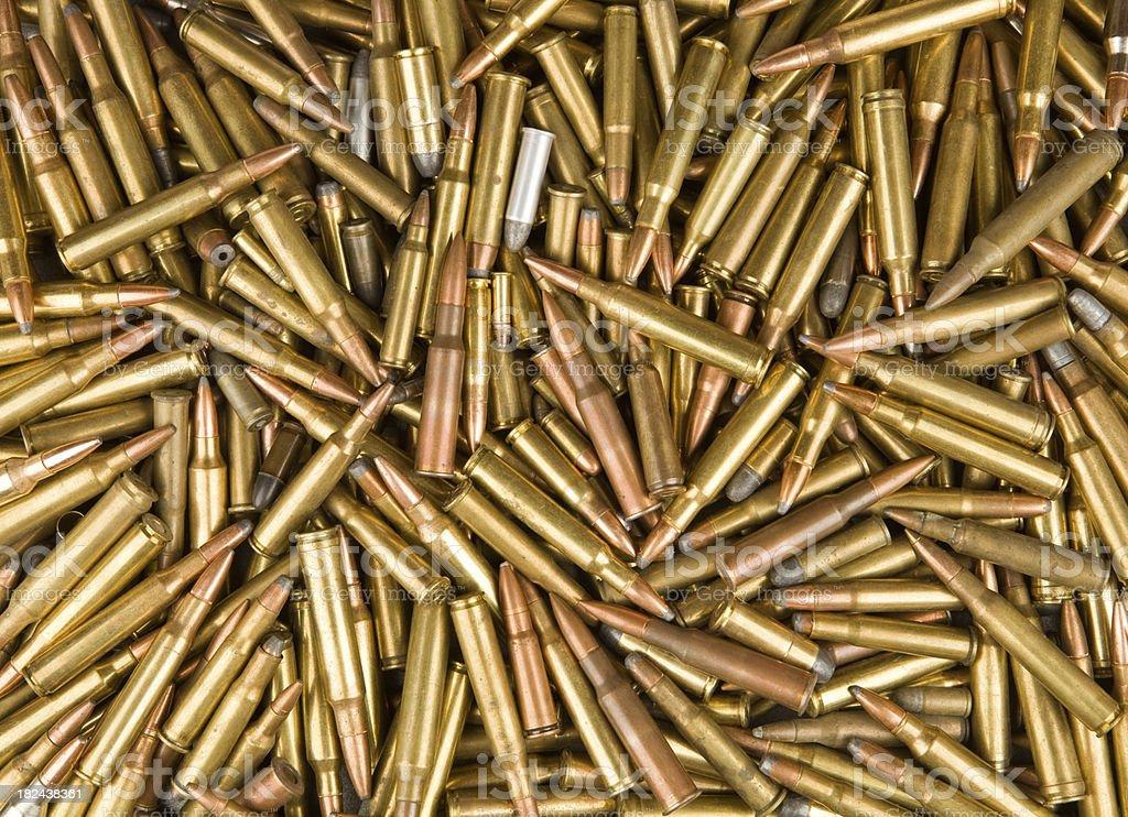 Rifle and Handgun Bullet Background stock photo