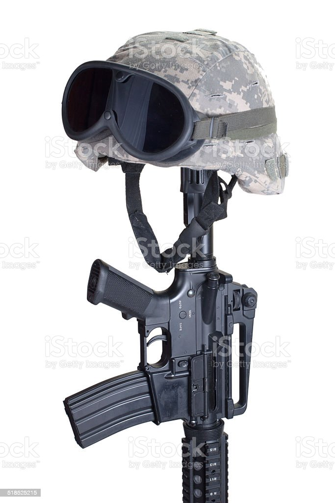 Rifle and Helmet Memorial stock photo