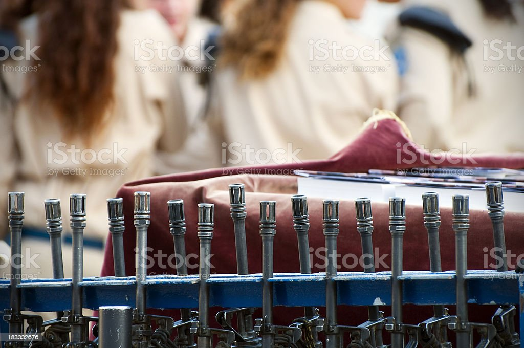 Automatic weapons at Israeli military graduation in Jerusalem royalty-free stock photo