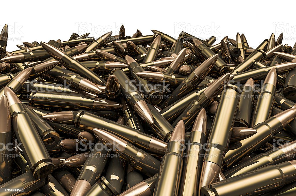 Rifle bullets pile stock photo