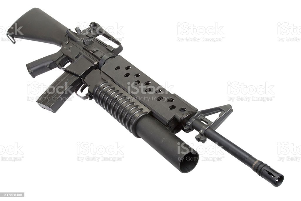 M16A4 rifle equipped with an M203 grenade launcher stock photo