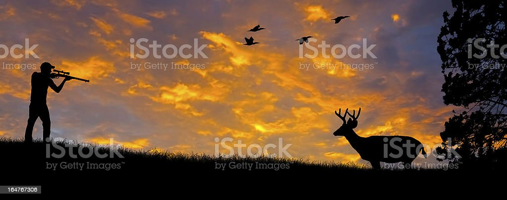Rifle Hunting Silhouette stock photo