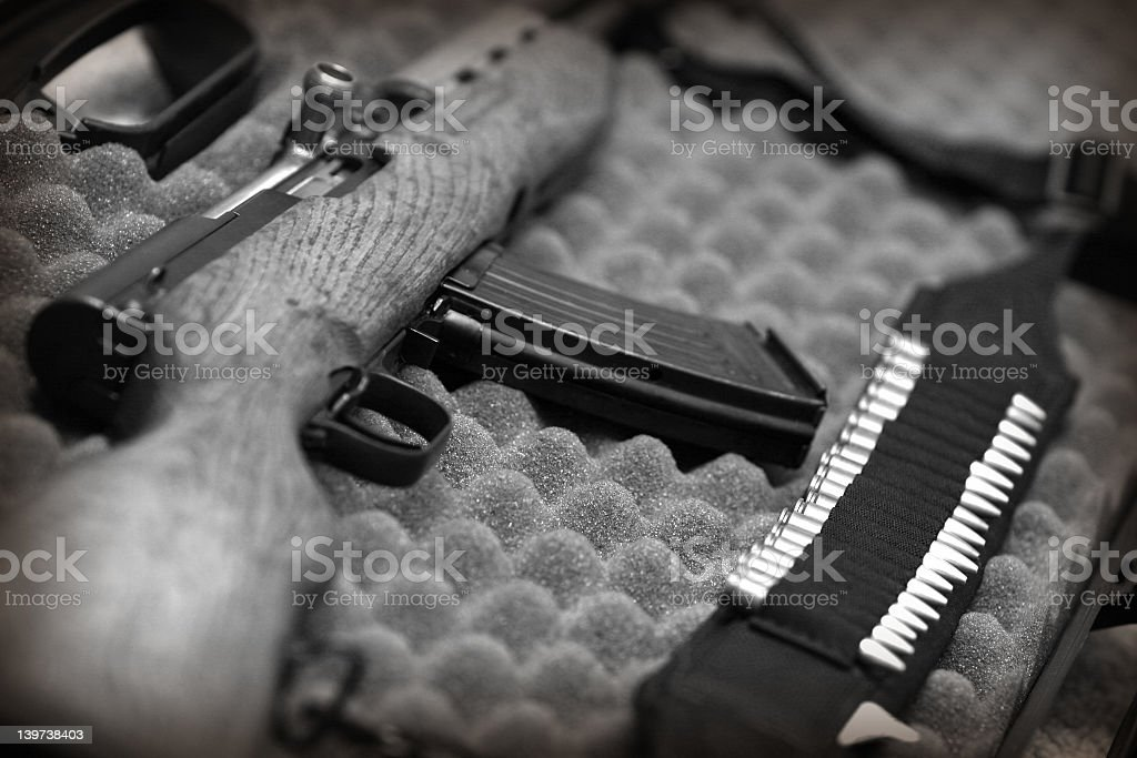 Rifle on egg crate stock photo