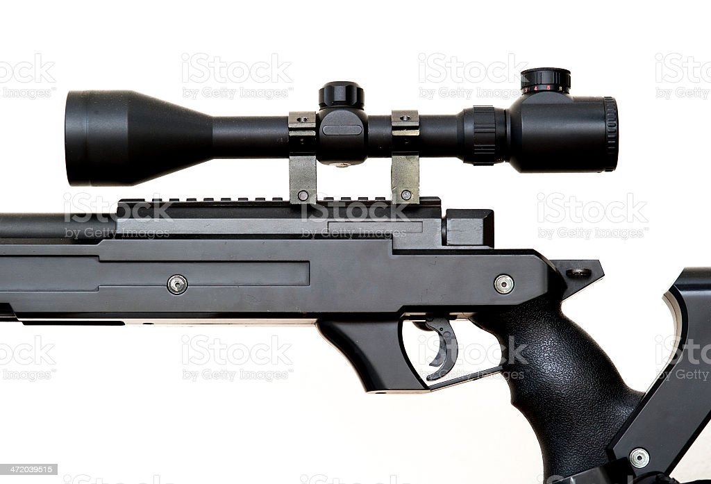 Rifle scope close-up side view isolated on white background stock photo