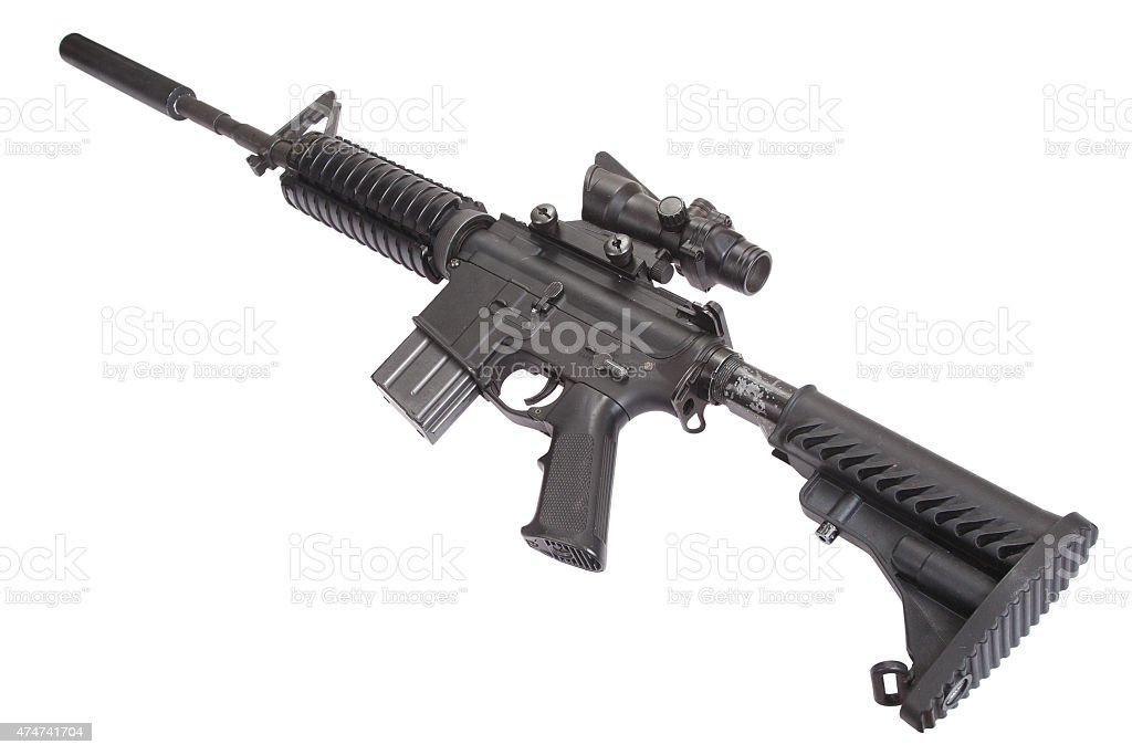 M4 rifle with silencer stock photo