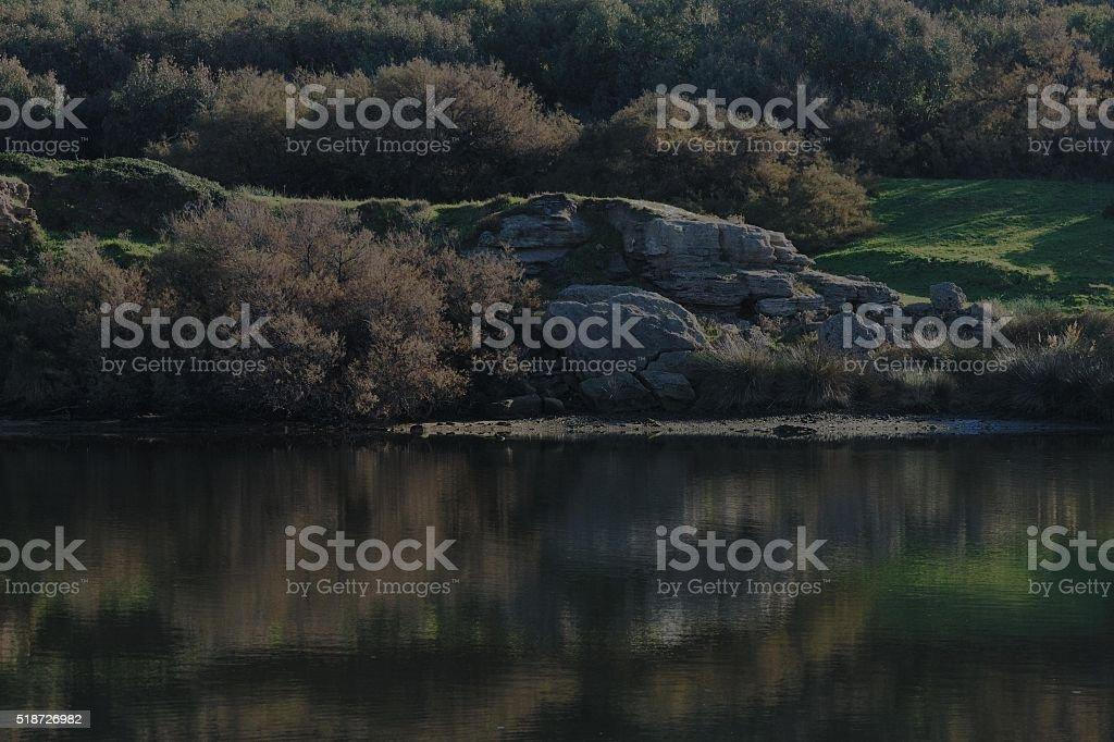 Riflessi naturale, foce del coghinas stock photo