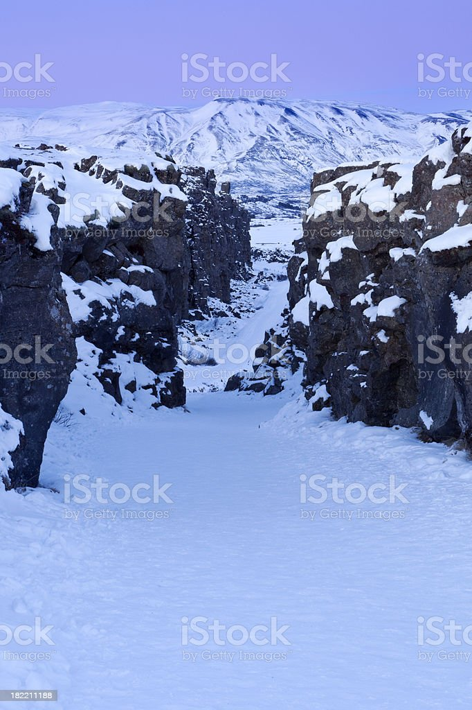 Rift in Thingvellir National Park, Iceland in winter at dawn royalty-free stock photo