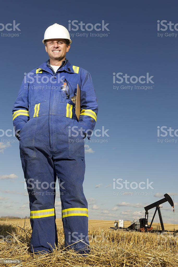 Rig and Oil Worker stock photo
