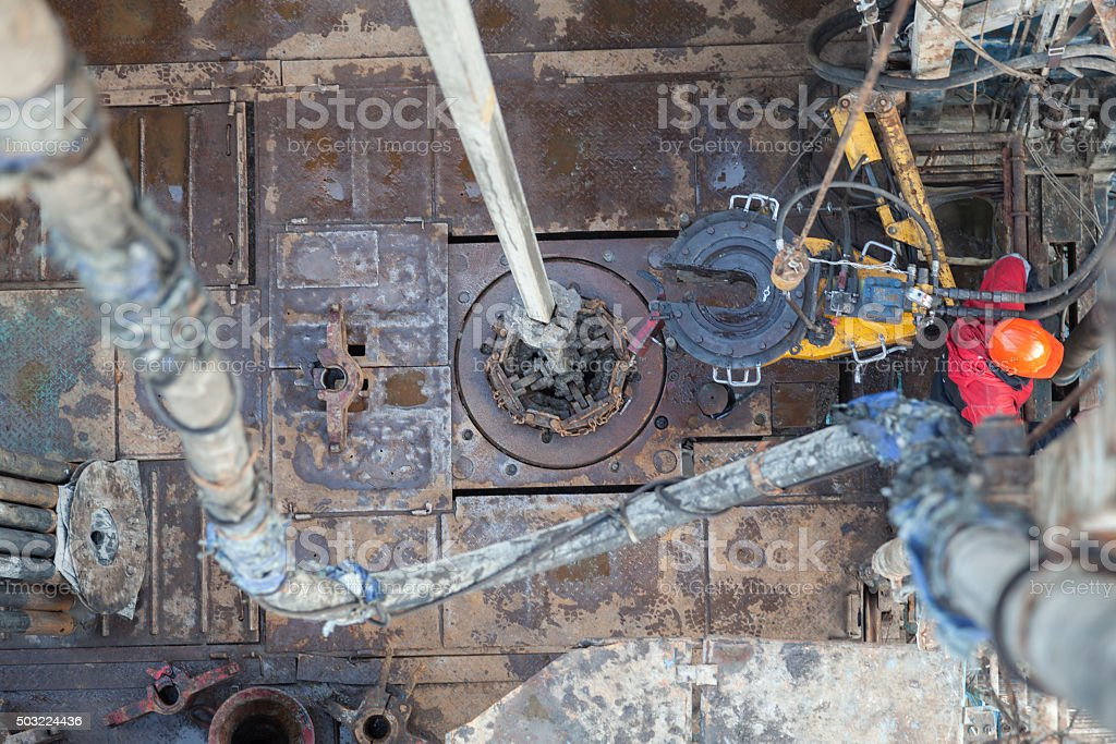 Rig floor of drilling rig while work stock photo