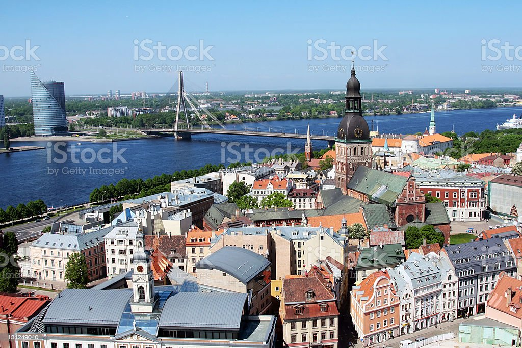 riga and daugava river from the top of a tower stock photo