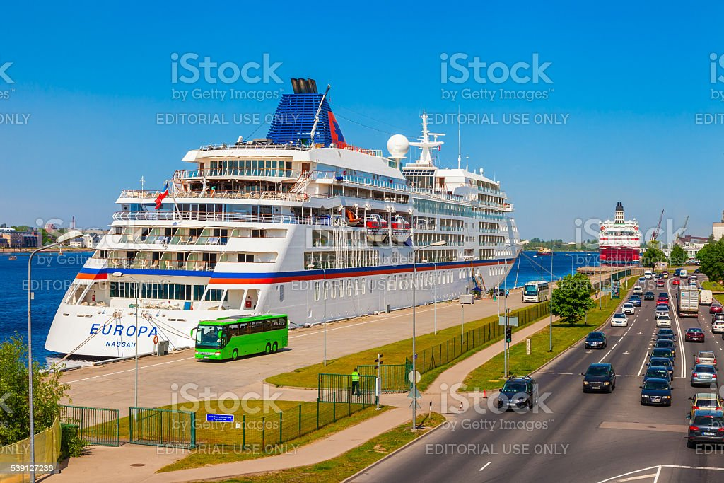 Riga, Latvia - 24-May-2016: farry 'Europa' in port of Riga stock photo