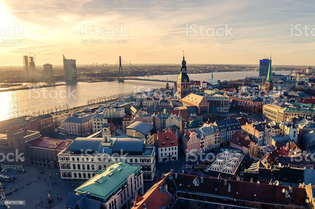 Riga, Latvia: aerial view of Old Town stock photo