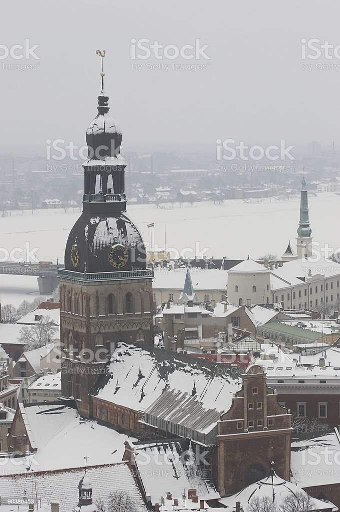 Riga, Latvia, Doms on winter, view from St.Peter's Church royalty-free stock photo