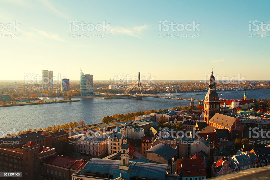 Riga, Latvia - sky view on Old Town stock photo