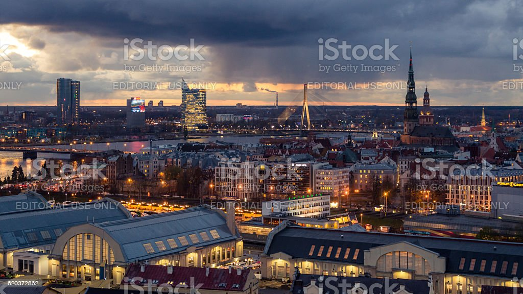Riga Old Town, beautiful view over the city at sunset stock photo