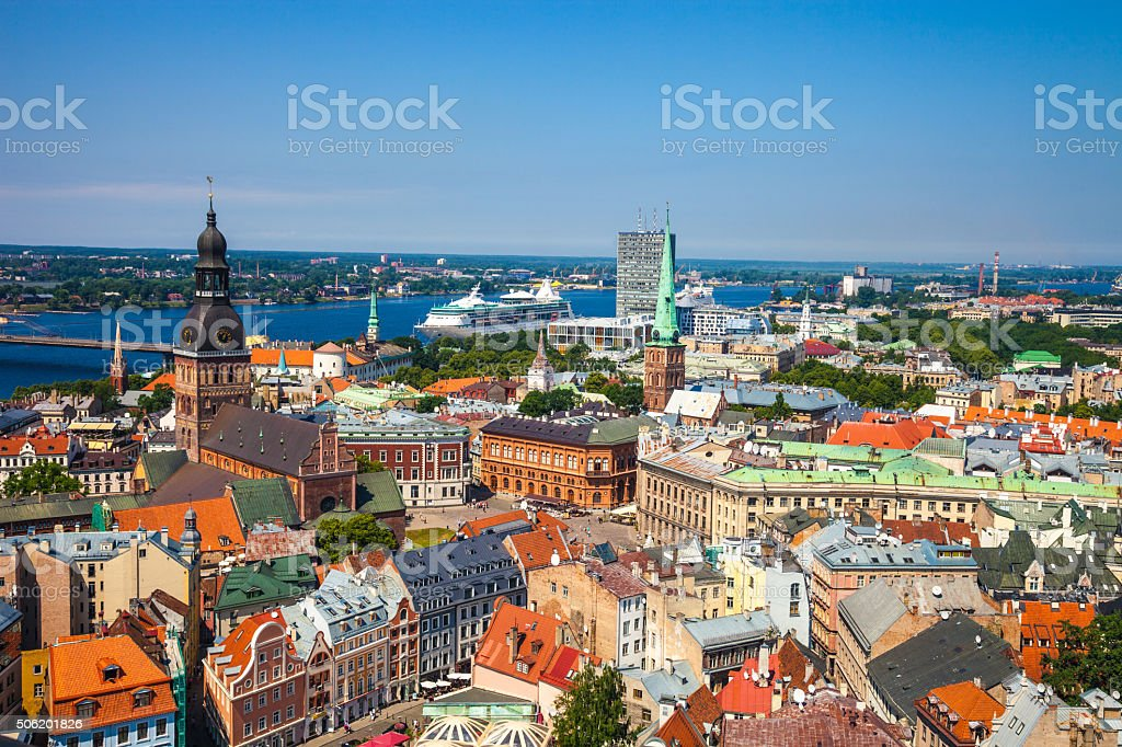 Riga Old Town, beautiful view over the city stock photo