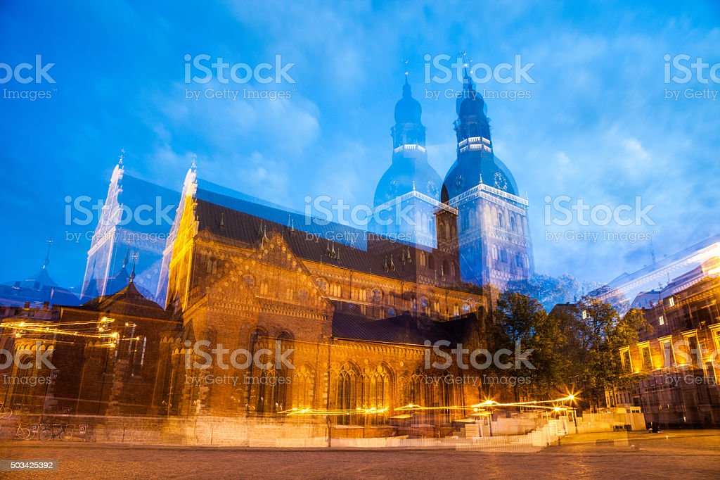 Riga old town cathedral by night stock photo