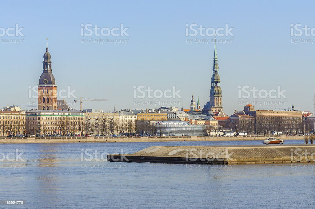 Riga old town coastline, Latvia stock photo