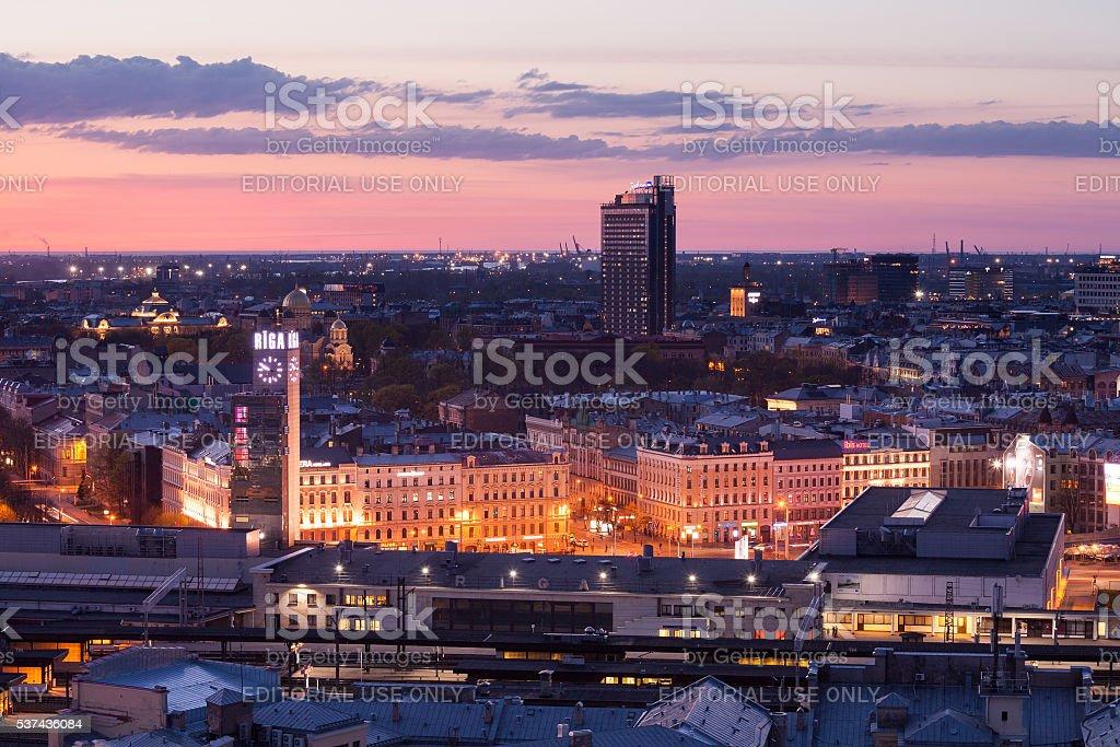 Riga railroad station at the evening stock photo