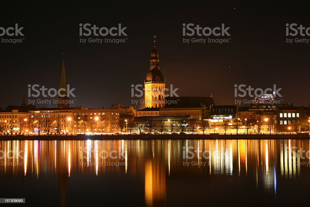 Rigas Dome Church by Night stock photo