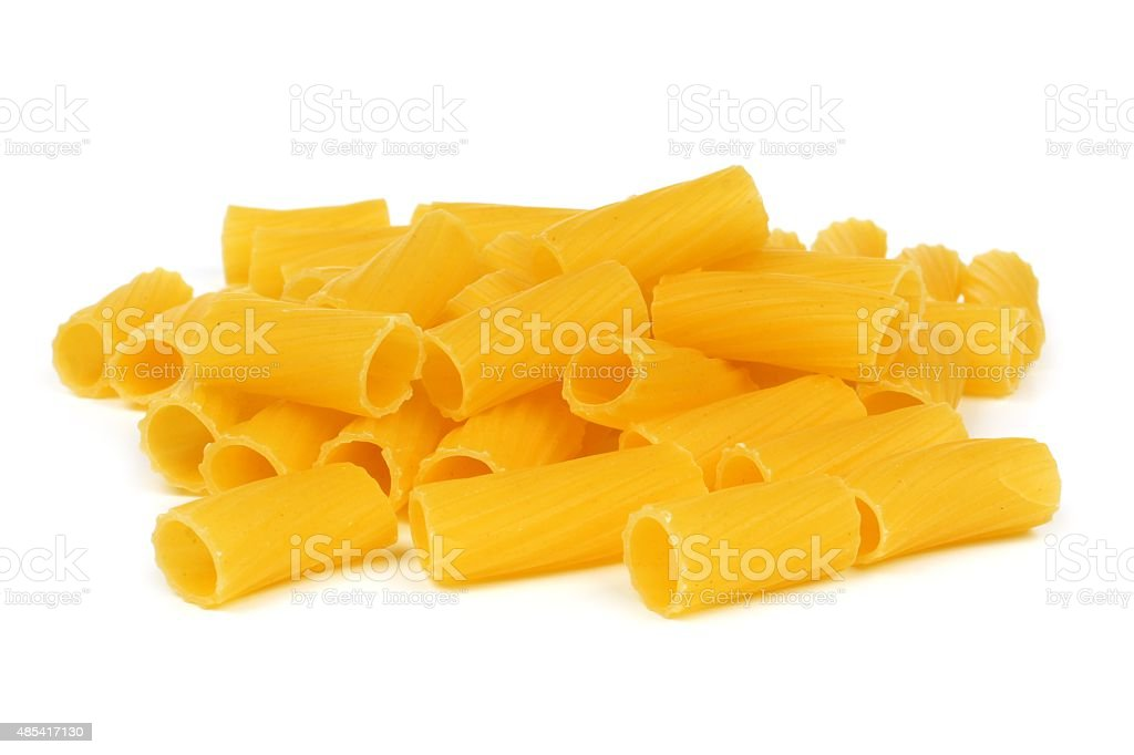 Rigatoni pasta isolated on white stock photo