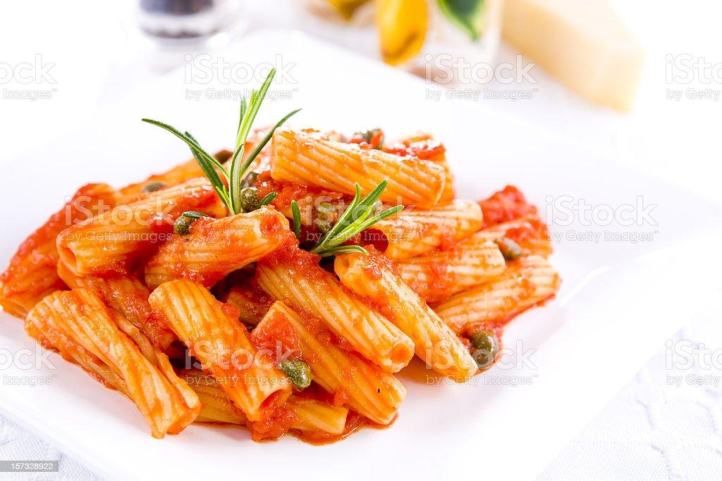 rigatoni with tomato sauce royalty-free stock photo