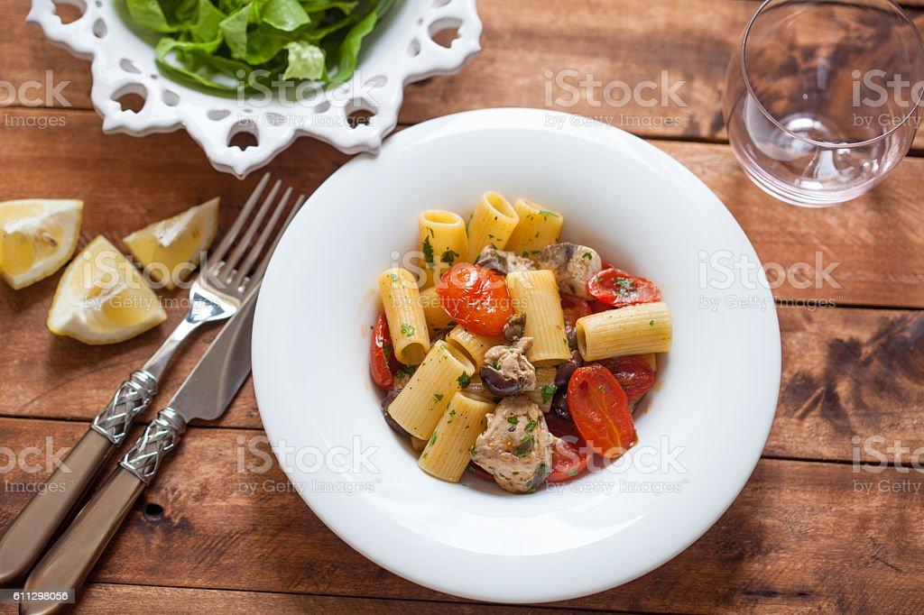 Rigatoni with Tuna Fish and tomato stock photo