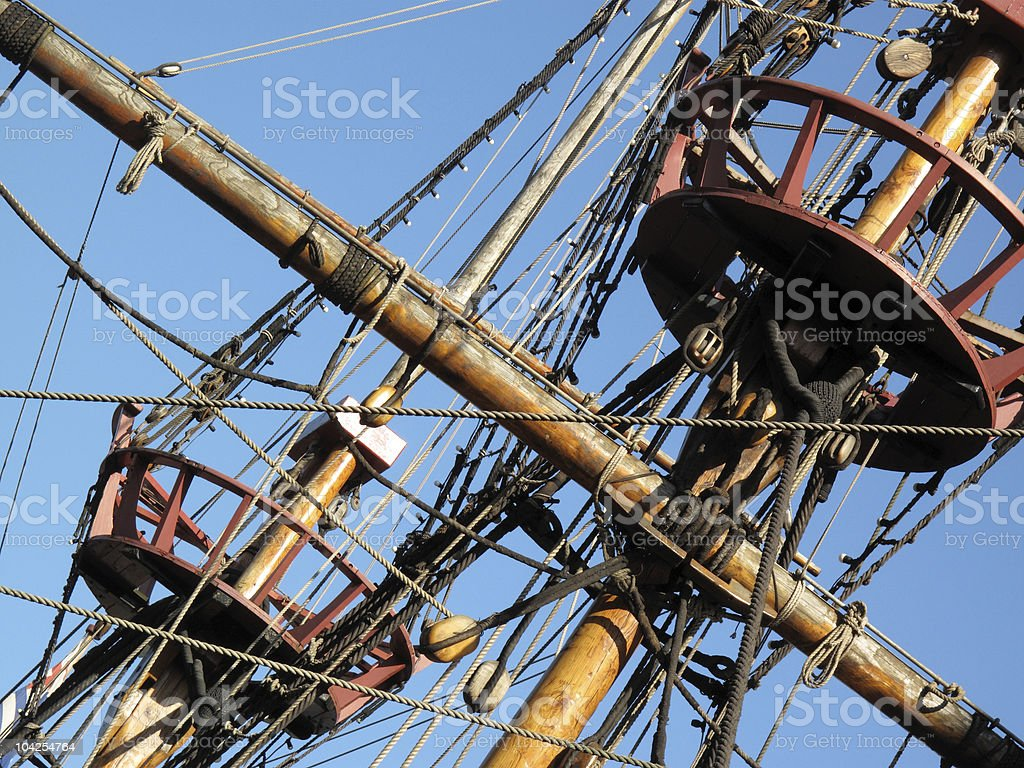 Rigging and crows nest of the Golden Hinde royalty-free stock photo