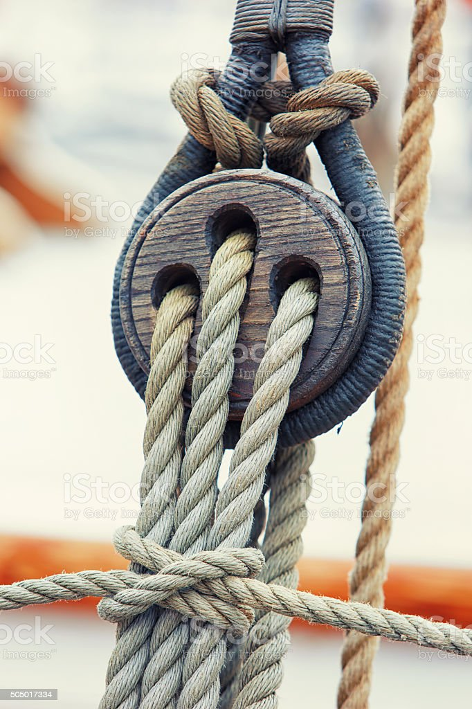 Rigging and ropes on a wooden sailing yacht stock photo