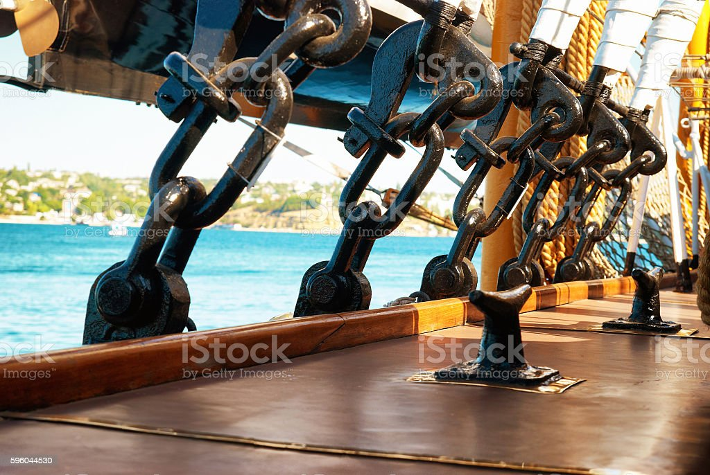 Rigging and ropes stock photo