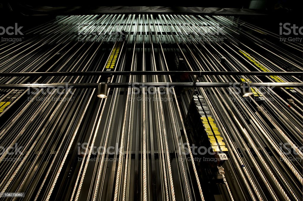 Rigging for theater, backstage view stock photo