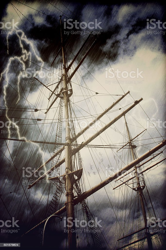 Rigging of a tall sailing ship in rain and thunderstorm stock photo