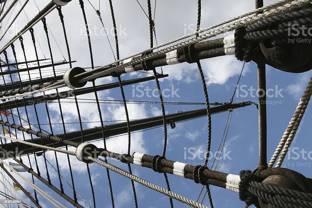 Rigging of a Tall Ship stock photo