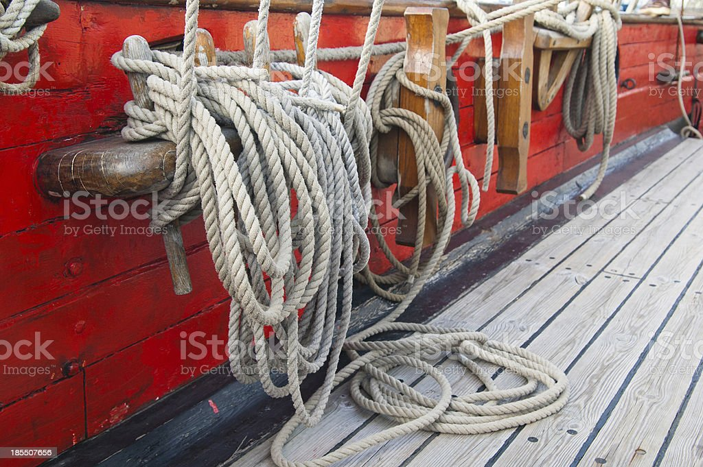 Rigging of an ancient sailing vessel royalty-free stock photo