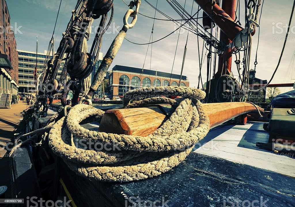 Rigging on a sailing boat stock photo