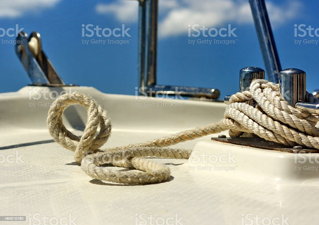 Rigging on the bow of a yawl stock photo