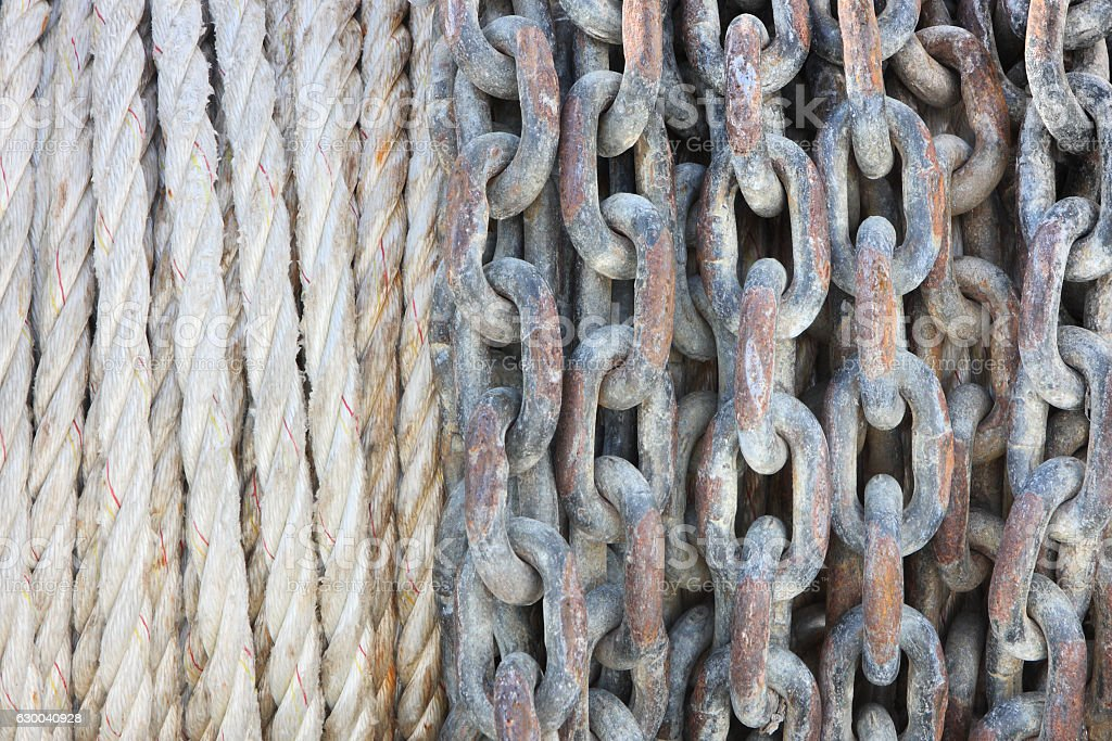 Rigging Rope Anchor Chain Nautical Equipment stock photo