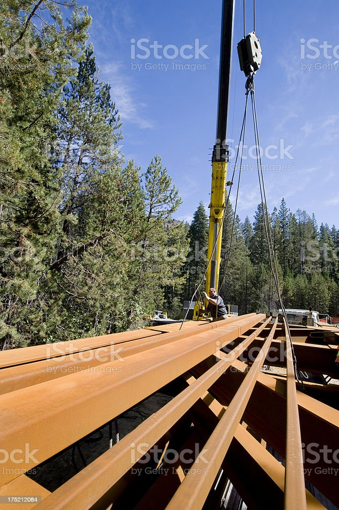 Rigging Steel Trusses for Crane Lift royalty-free stock photo