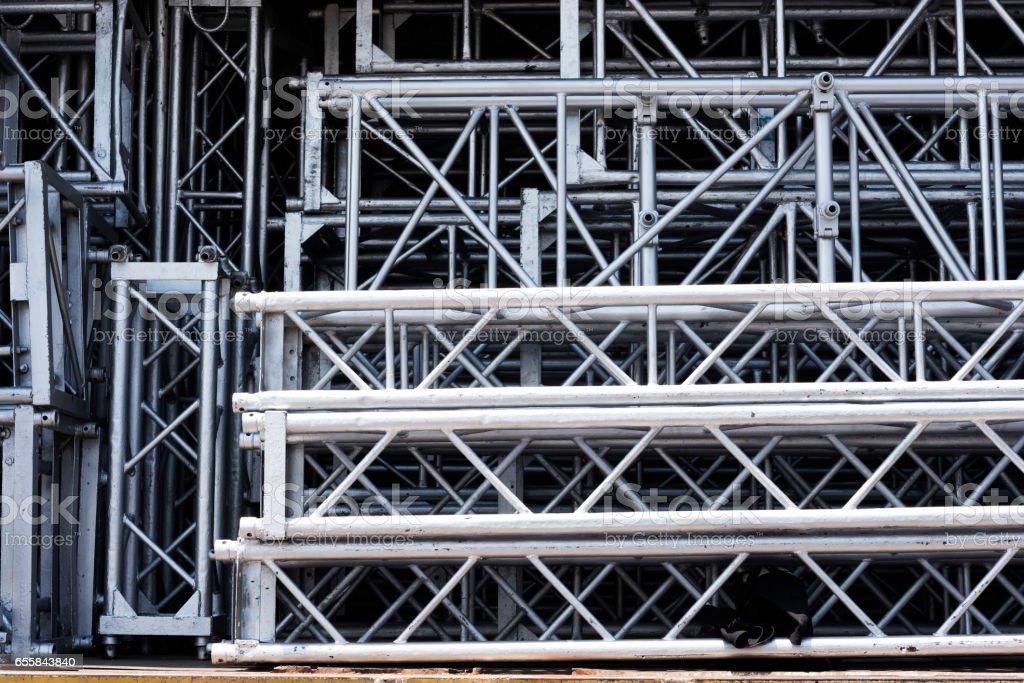 Rigging truss in storage prepare for moving stock photo