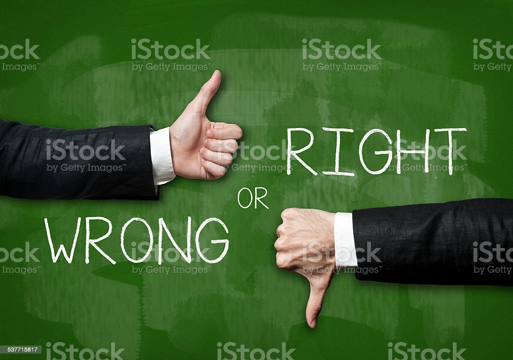 Righ or Wrong / Green Blackboard concept (Click for more) stock photo