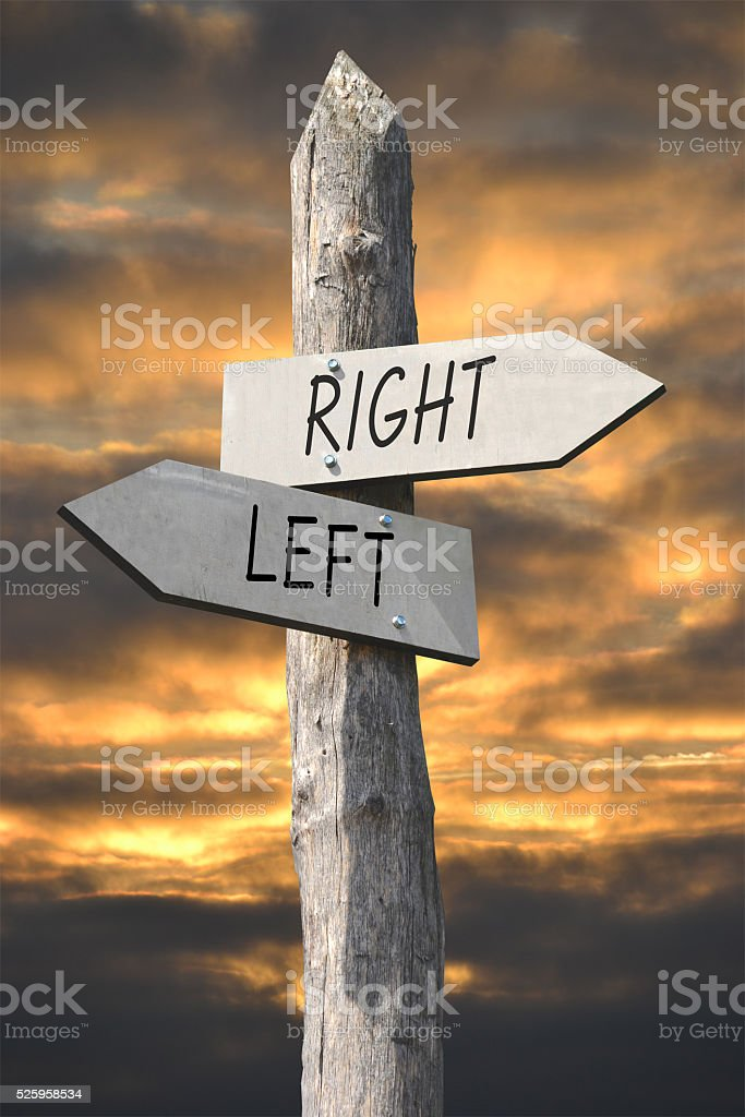 Right and left signpost stock photo