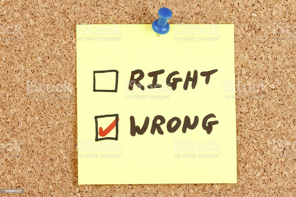 Right and Wrong Checkboxes on an Adhesive Note royalty-free stock photo