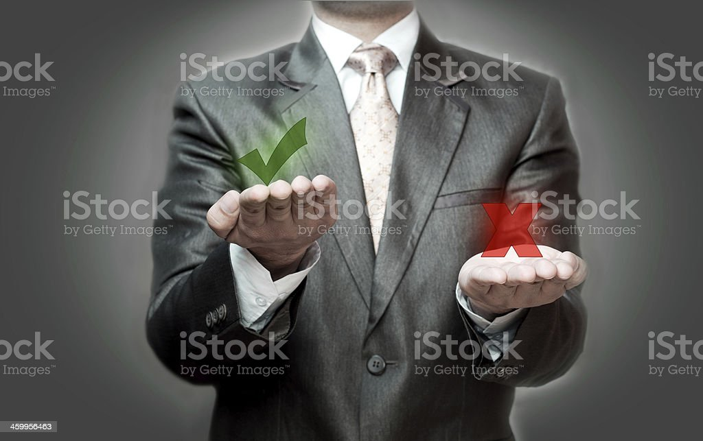 Right and Wrong concept stock photo