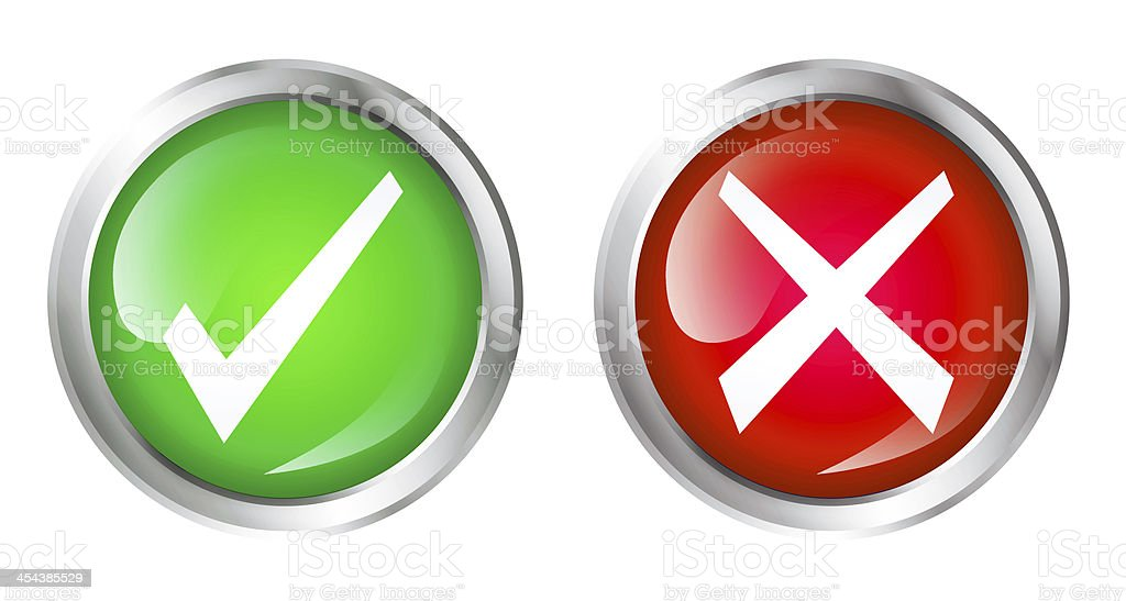 right and wrong icons stock photo