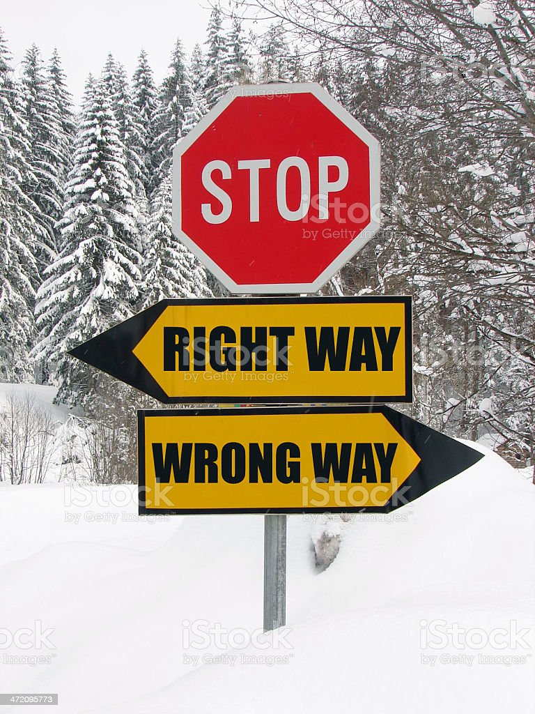 right and wrong way road sign in nature stock photo
